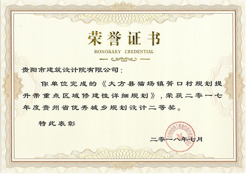 大方县猫场镇箐口村规划提升带重点区域修建性详细规划 二等奖