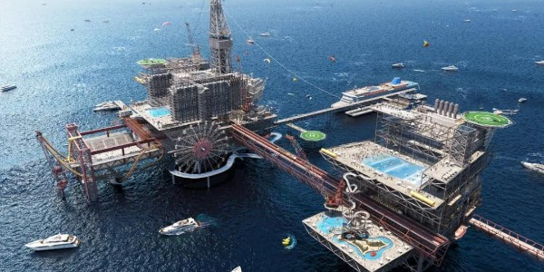 沙特阿拉伯将石油钻井平台改造成世界上第一个海上极限游乐园