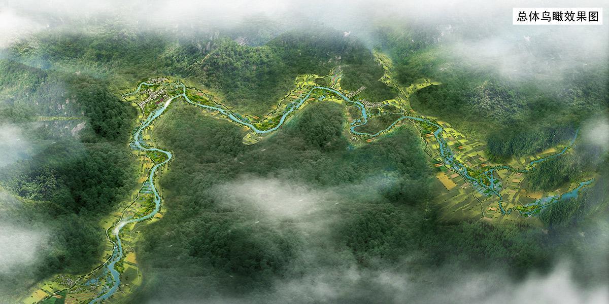 贵定摆龙河国家湿地公园总体鸟瞰图