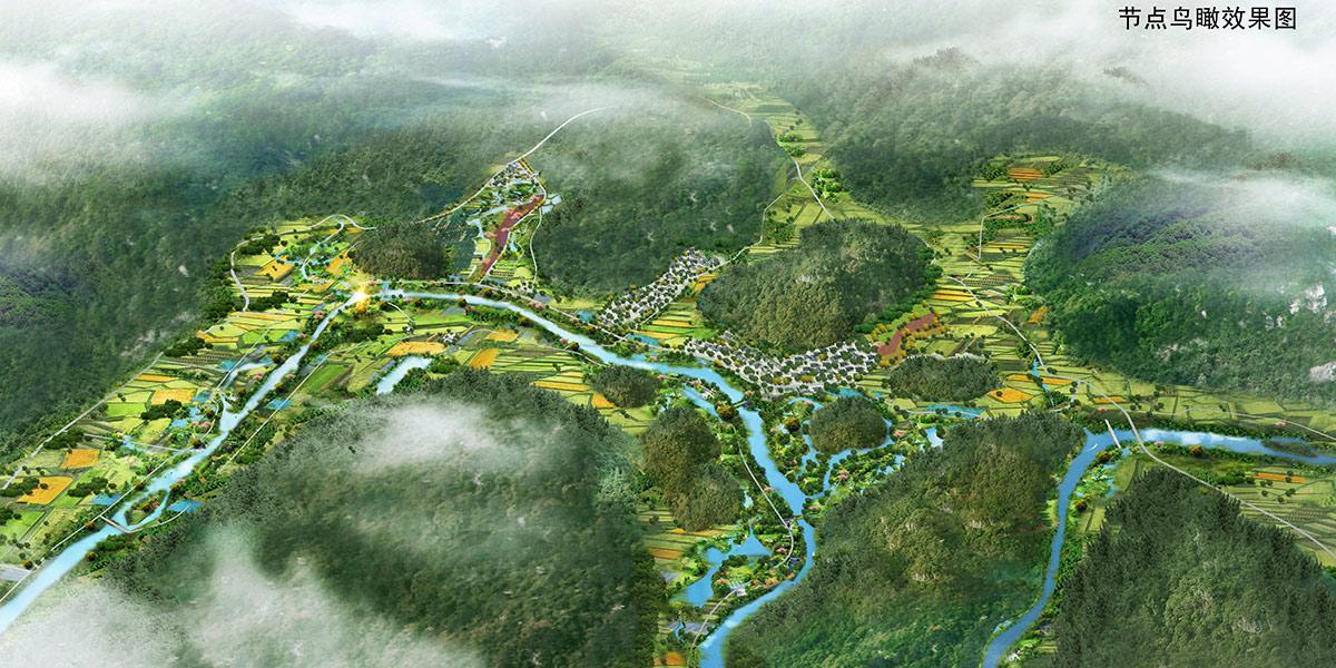 贵定摆龙河国家湿地公园节点鸟瞰图